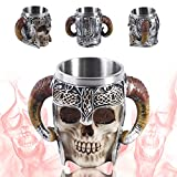 Gothic 3D Skull Mug,Taza de cerveza de acero inoxidable con diseño de calavera de Viking Warrior, taza de cerveza, taza de vino medieval para café/bebida/zumo