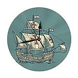 Mesllings Reloj de pared sin tictac, 9.8 pulgadas, diseño de barco flotante en las olas del mar, carabela de Santa María con elemento de diseño de Colón