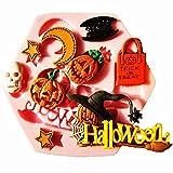 Lovelegis Molde de Silicona de Halloween - Calabaza - Bruja - murciélago - Calavera - Estrellas - Pasta de azúcar - fondants - tortas - panqueques - Muffins - Uso de Alimentos - Cocina y cumpleaños