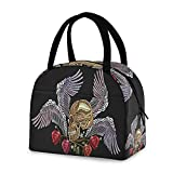 Bolsa de almuerzo bolsa de almuerzo con diseño de calavera y alas de ángel, rosas con insultas portátil, bolsa de almuerzo de pinic para el trabajo, escuela, picnic