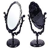 Negro Vintage Royal espejo de maquillaje giratorio espejo gótico con mariposa Rose y Vines decoración herramienta cosmética