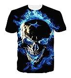 Spreadhoodie Hombre Azul T-Shirt Modelo 3D Calavera Impresos de Dibujos Casual Camiseta de Manga Corta Tees XL