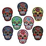 Juego de 8 parches coloridos para ropa de cráneo, diseño de calavera mexicana con calavera bordada para pantalones vaqueros, bolsos, chalecos, chaquetas y manualidades