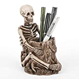portalápices de calavera Porta lapicero Calavera Organizador de Pincel de Maquillaje de Esqueleto Cabeza de Calavera Caja de joyería Caja de Almacenamiento de Escritorio Ornamento Decoración del hogar