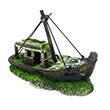 Barco de peces ornamental de plástico para decoración de acuario