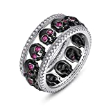 EVBEA Anillos Mujer Plata de Ley 925 Calavera Amatista Cristal Diamante Negra Compromiso Boda Bisuteria Joyería Regalos Originales para Mujer Novia Amigas