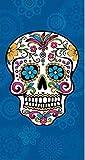 The Best Fashion House Toalla de Playa diseño Calavera Mexicana 100% Algodon (3 Colores y 2 tamaños) (Azul, 95 x 175 cm)