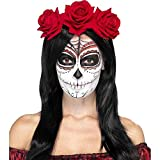 Smiffy'S 27744 Diadema Del Día De Muertos Con Rosas Rojas, Rojo, Tamaño Único , color/modelo surtido