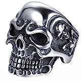 JewelryWe Anillo de Acero Inoxidable para Hombre, diseño de Calavera, Varias Tallas, con Bolsa de Regalo, Color Plateado y Negro (US#10=ES#22)