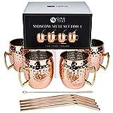 Oak & Steel 4 Elegante Tazas de Cobre Moscow Mule - Acero Inoxidable de Calidad | Set de Regalo