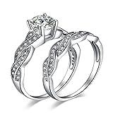JewelryPalace Infinito Anillos Mujer Plata Diamante Simulado, 1.5ct Anillos de Compromiso Plata de ley 925 Mujer Oro, Promiso Anillo Mujer Alianzas Banda Boda Conjuntos, Joyería de Aniversario