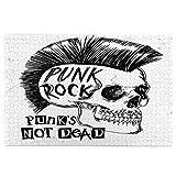 Rompecabezas de 1000 Piezas,Rompecabezas de imágenes,Mano de calavera punk rock dibujada con gráficos de eslogan,Juguetes puzzle for Adultos niños Interesante Juego Juguete Decoración Para El Hogar
