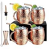 Moscow Mule - Juego de 4 vasos de cobre con 4 pajitas, juego de vasos de cóctel con 1 vaso medidor y 1 boquilla para vino, vasos de café Moscow Mule Mug con pincel para limpieza