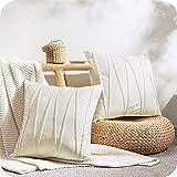 Top Finel Juegos 2 Hogar Cojín Terciopelo Suave Decorativa Almohadas Fundas de Color Sólido para Sala de Estar sofás 45X45cm Crema