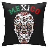 Funda de cojín con diseño de calavera de azúcar de la bandera de México