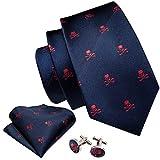 GPZFLGYN Conjunto de gemelos de pañuelo con corbata de calavera azul marino para hombre, corbatas de seda para hombre, traje, fiesta, regalo de negocios