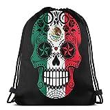 Bolsa con cordón y diseño de calavera de azúcar con rosas y bandera de México, bolsa de almacenamiento de bapa