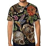 Camiseta de manga corta para hombre, diseño de calavera gótica con rosas rojas, flamenco, cuello redondo, para hombre Multicolor multicolor 3XL
