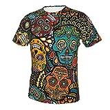 Camiseta de manga corta con cuello redondo para hombre, ajuste delgado, para uso diario, calaveras mexicanas de azúcar