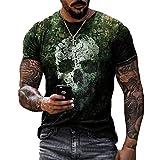 Camiseta con Estampado gráfico de Calavera para Hombre, Divertidas Camisetas de Manga Corta, Camisas Casuales de Moda de Verano