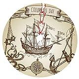 Barco de Colón, carabela Vieja, velero, Pulpo, Ancla, Rosa de los Vientos Falda de árbol de Navidad Falda de árbol para decoración navideña Decoración Festiva 36'