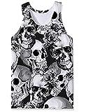 Camiseta sin Mangas con Estampado Digital en 3D para niño, Chaleco de Calavera de Verano, Camisetas sin Mangas con Cuello Redondo, Negro, Blanco, XXL