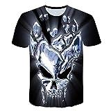 T-shirt Camiseta con impresión digital en 3D mangas cortas calavera brillante hombres y mujeres de verano traje de pareja unisex camiseta de gran tamaño divertida suelta y deportiva de gran tamaño L