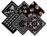 6 pcs Pañuelos Bandanas Pirata para Cuello Cabeza o Pulsera Multiusos para Hombres Mujeres Unisex Moscota 100% Algodón (modelo al azar)