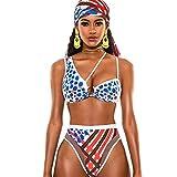 XITENG - Bikini de cintura alta para mujer, con estampado de calavera, para biquini, vendaje, bikinis Color blanco y azul. S