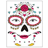Tatuajes faciales temporales, 8 hojas, decoración del día de los muertos, tatuajes faciales, pegatinas de calaveras de azúcar, maquillaje de Halloween para hombres y mujeres (Pegatinas faciales)