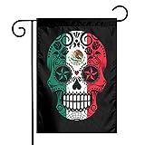 Bandera de México con diseño de calavera, banderas de jardín para interiores y exteriores, decoración para fiestas familiares
