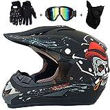AKBOY Motorcycle Helmet Kit Mujers Hombres Unisex Motocross Helmet con Gafas Guantes Máscara Adultos Integral Off-Road Casco Calavera Negro Moto Bicicleta Quad MTB Downhill ATV para jóvenes,M