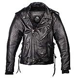 IGUANA CUSTOM - Chaqueta de moto de piel para hombre de estilo rockero CRUZADA de cuero de primera calidad, con protecciones y forro térmico desmontable. (L)