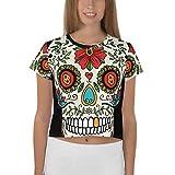 Camiseta de Mujer Corta con impresión Completa de Calavera Mexicana Pecho, Espalda y Mangas (S)