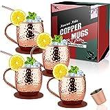 Eligara Moscow Mule Tazas Juego de 4 (Caja de regalo) Taza de Cobre puro 100% Hecha a Mano, Juego de Regalo con 1 Vaso de Chupito 4 Pajitas y 4 Posavasos