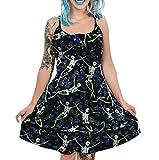 Hibasing Vestido Steampunk con Estampado de Rosas y Calavera de Talla Grande para Mujer Vestidos Florales Punk góticos