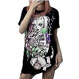 Anime Print Camiseta de manga corta para mujer, estilo japonés, Ukiyo-e, Negro , S