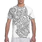 Kteubro Camiseta para hombre con diseño de calavera mexicana con flores de azúcar