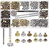 LAKII 180 Set 2 tamaños de cuero tapa doble remache Remaches Tachuelas Metal tubular con 3 piezas de fijación para DIY remaches de cobre herramienta de reemplazo, 3 colores oro, plata y bronce