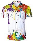ALISISTER Camisa Hawaiana Hombre Estampado en 3D Pintada Botón Informal Abajo Playa Camisa Manga Corta Aloha de Vacaciones Camiseta Blanco XL