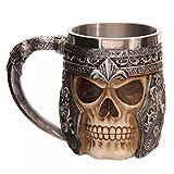 AOI Taza de café 3D con Forma de Calavera, Tazas de Cerveza con Forma de Calavera, Taza de Acero Inoxidable para Beber con Forma de Esqueleto, de 15 x 10,5 cm de Capacidad 301-400 ml