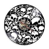 SHILLPS Reloj de Pared de Vinilo con Calavera Mexicana, Reloj de Pared con Cabeza de Calavera, diseño Moderno, Pared 3D, decoración de Pared Mexicana de Halloween, sin LED