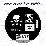 VINILO ADHESIVO PEGATINA CALAVERA STICKER DISTINTIVO AMBIENTAL COCHE VEHICULO TOXICO JDT INVERTIDO (PEGADO POR DENTRO)