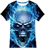 Goodstoworld Camiseta Manga Corta Niño 3D Patrón Impreso T-Shirt Niña Adolescentes Calavera Azul Unisexo tee Tops 9-12 Años
