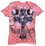 Amplified–Camiseta para hombre naranja albaricoque Coral Saint Sinner Gothic Cross Skull brillantes Calavera Black Ghost Tattoo Designer Special Edition Rock Star Vintage naranja 50