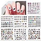 Konsait Halloween 3D Uñas Pegatinas Stickers Decoración 7 Hojas, Nail Art Pegatina de Cráneo Esqueleto Murciélago Fantasma Telaraña Uñas Envolturas Dedos para Halloween Uñas Diy Maquillaje Decoración