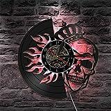 XYLLYT Reloj de Pared con Disco de Vinilo de Calavera, Reloj de Pared silencioso de Cuarzo para decoración del hogar de Halloween