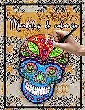 Mandalas de calavera: Libro de colorear para adultos con diseño de calavera / relajación / alivio del estrés / Día de los muertos