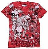 Amplified–Camiseta para hombre rojo Saint Sinner Dark Spirit brillantes Calavera Black Espíritu Ghost Ángel Gangster Tattoo Designer Special Edition Rock Star Vintage rojo 48