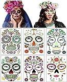 6 hojas de tatuajes faciales temporales de Halloween, pegatinas de maquillaje de Halloween tatuaje de calavera de azúcar para la fiesta de disfraces de Halloween (Multicolor)